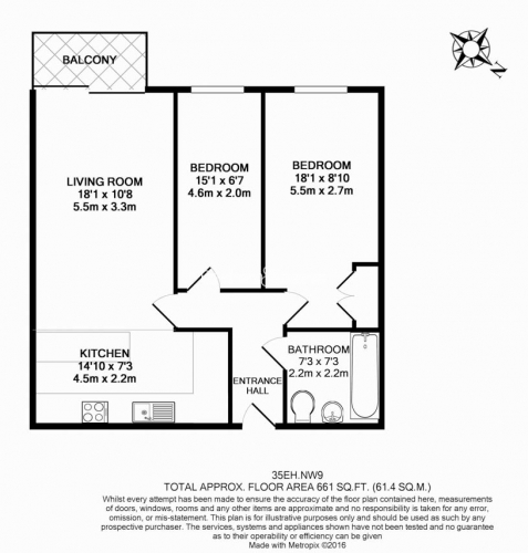 2 bedroom(s) flat to rent in Commander Avenue, Colindale, NW9-Floorplan