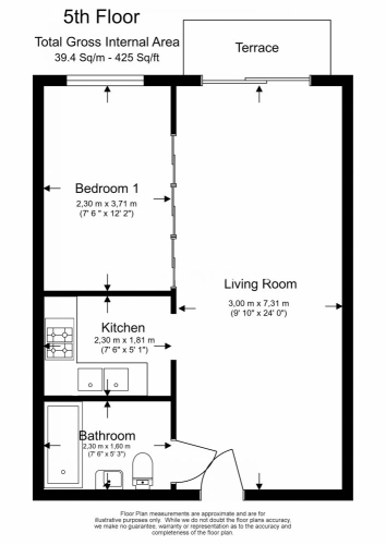 1 bedroom(s) flat to rent in Boulevard Drive, Colindale, NW9-Floorplan