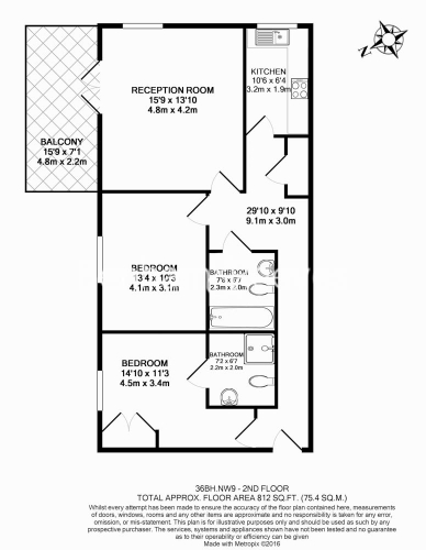 2 bedroom(s) flat to rent in Charcot Road, Colindale, NW9-Floorplan
