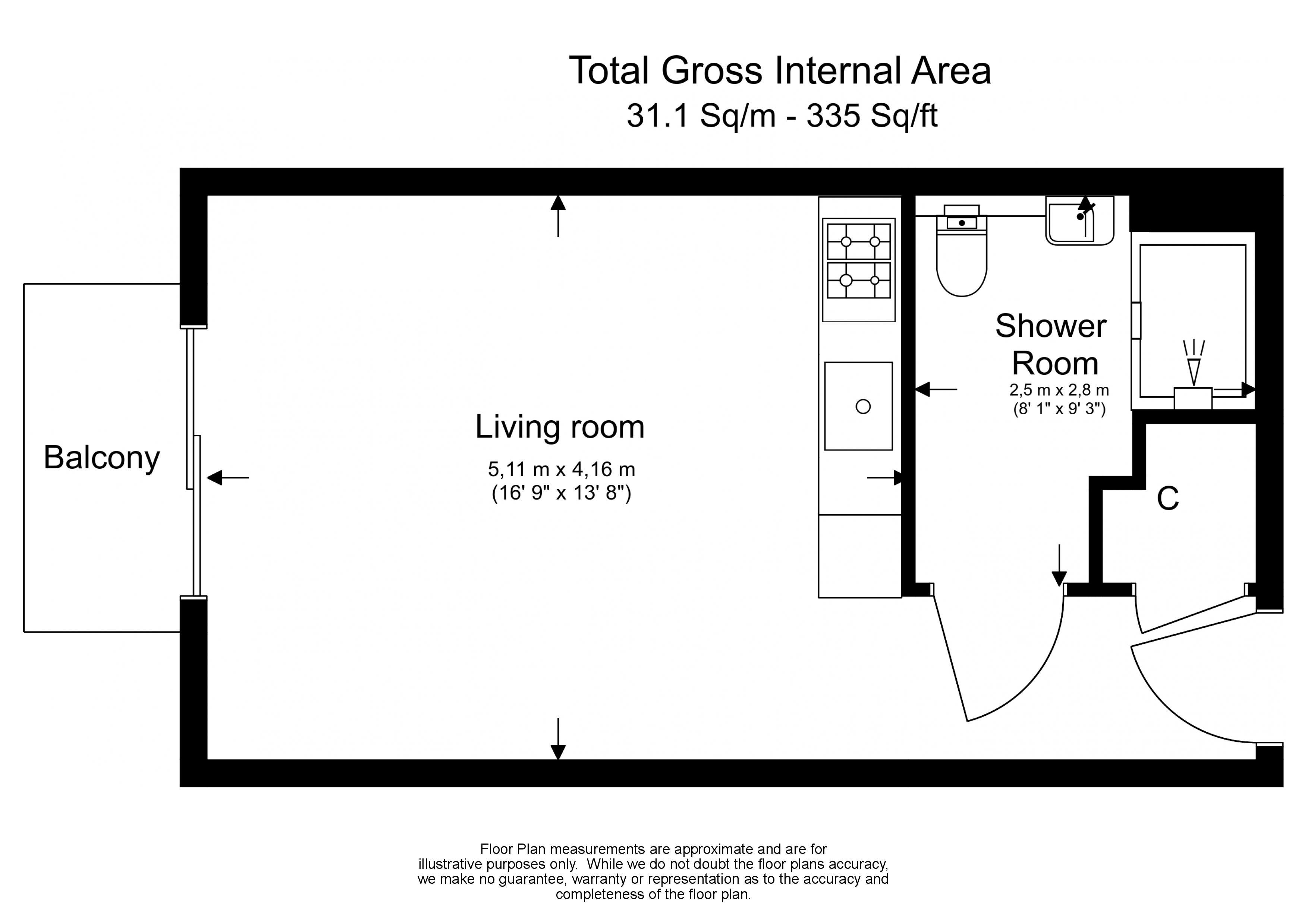 Studio flat to rent in Aerodrome Road, Colindale, NW9-Floorplan