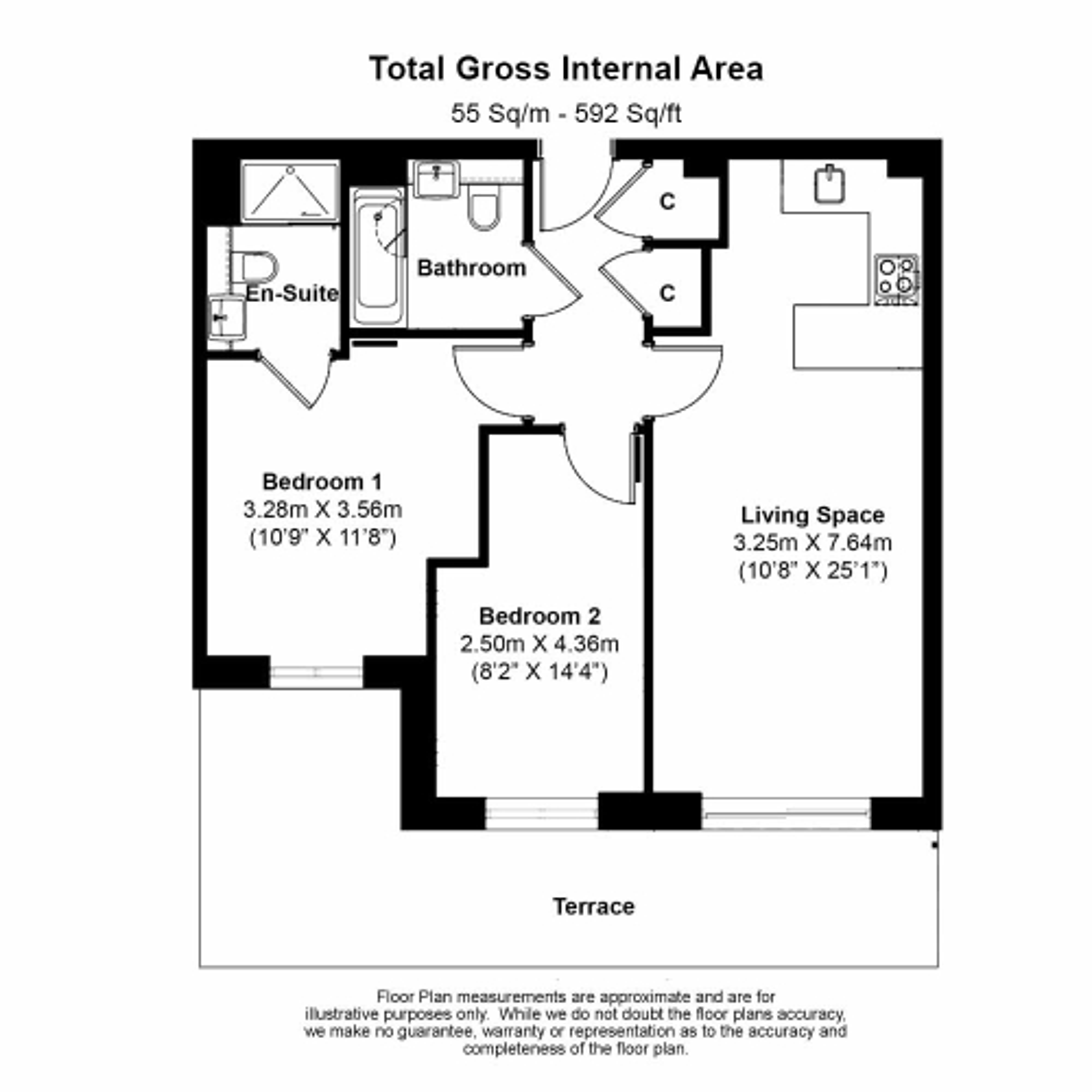 2 bedroom(s) flat to rent in Boulevard Drive, Colindale, NW9-Floorplan