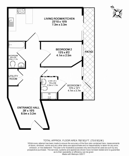2 bedroom(s) flat to rent in Aerodrome Road, Colindale, NW9-Floorplan