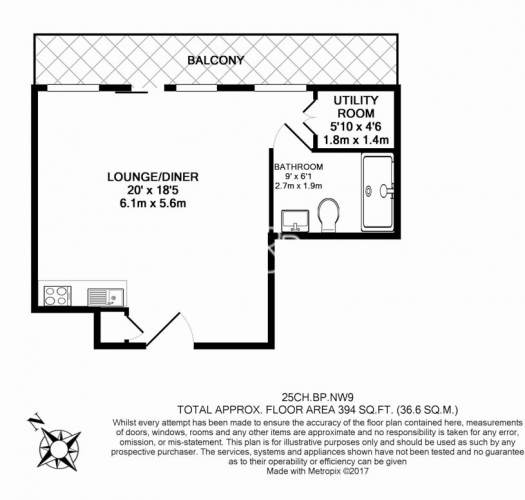 Studio flat to rent in Beaufort Park, Colindale, NW9-Floorplan