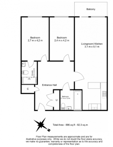 2 bedroom(s) flat to rent in Boulevard Drive, Colindale, NW9-Floorplan