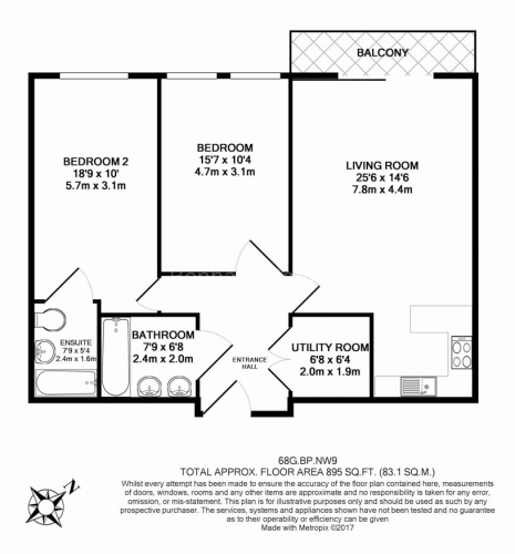 2 bedroom(s) flat to rent in Beaufort Park, Colindale, NW9-Floorplan