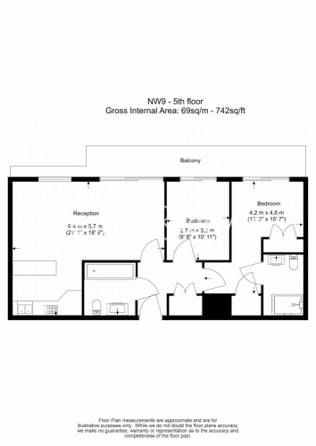 2 bedroom(s) flat to rent in Heritage Avenue, Colindale, NW9-Floorplan
