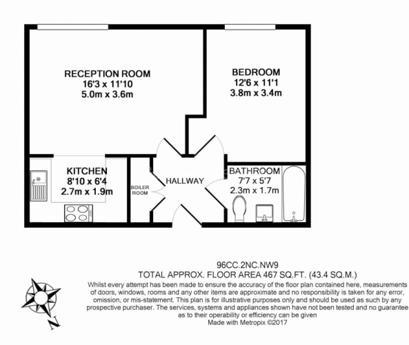 1 bedroom(s) flat to rent in Needleman Close, Colindale, NW9-Floorplan