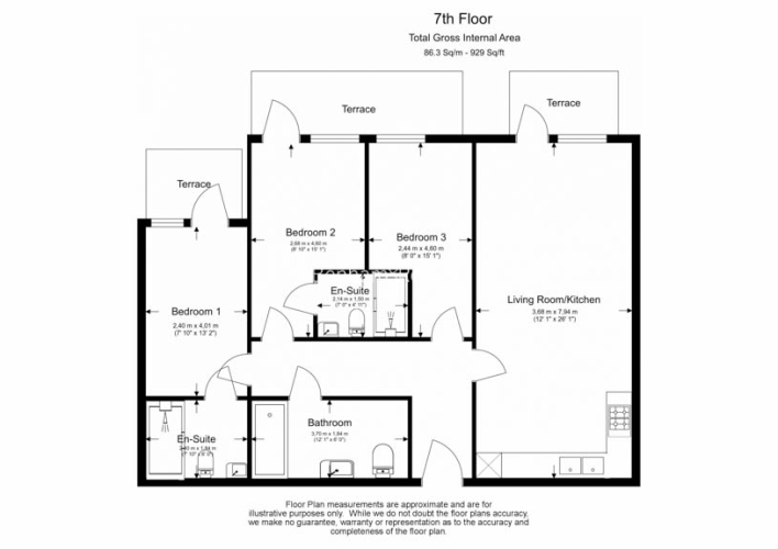 3 bedroom(s) flat to rent in Beaufort Square, Colindale, NW9-Floorplan