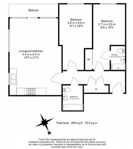 2 bedroom(s) flat to rent in Lismore Boulevard, Colindale, NW9-Floorplan