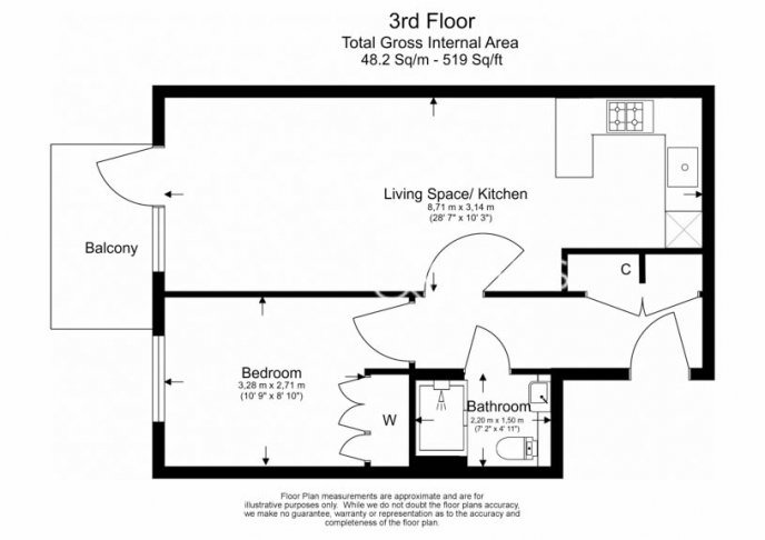 1 bedroom(s) flat to rent in Beaufort Square, Colindale, NW9-Floorplan