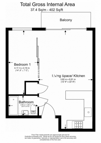 1 bedroom(s) flat to rent in Heritage Avenue, Colindale, NW9-Floorplan