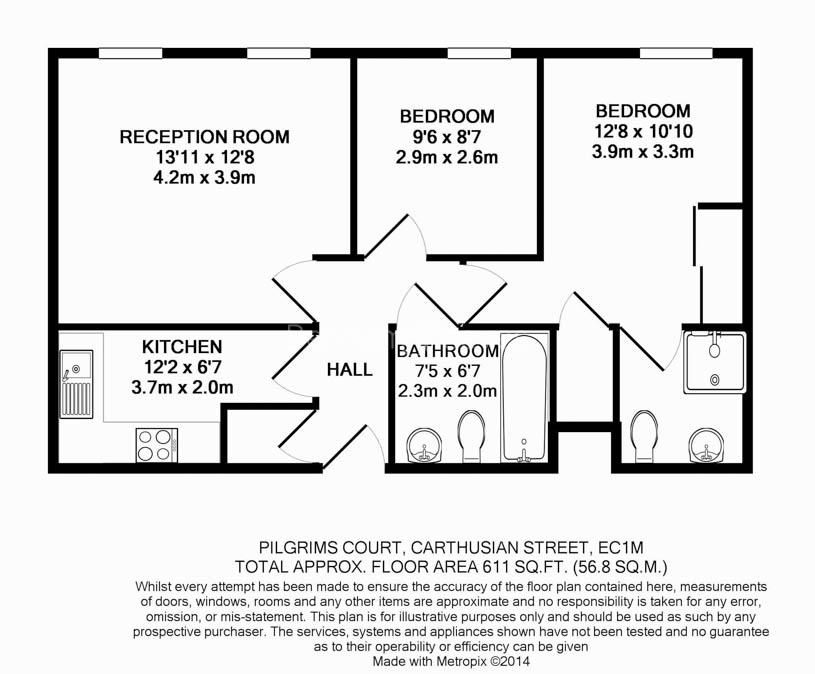 2 bedroom(s) flat to rent in Carthusian Street, Barbican, EC1M-Floorplan