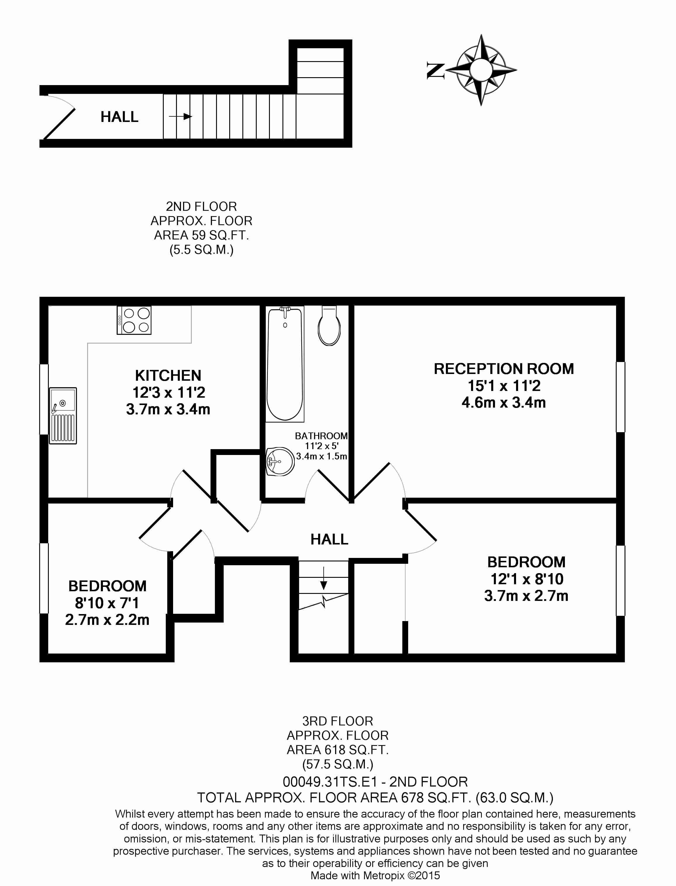 2 bedroom(s) flat to rent in Shire House, Lamb's Passage EC1-Floorplan