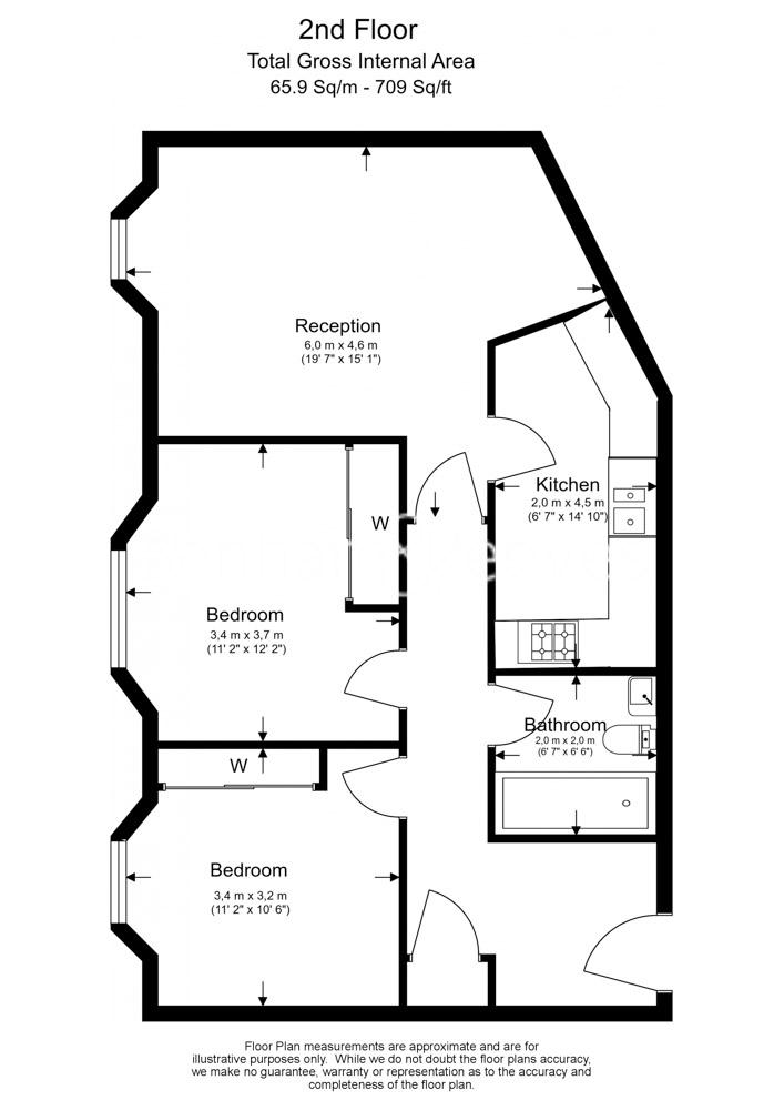 2 bedroom(s) flat to rent in Rosebery Avenue, Islington, EC1-Floorplan