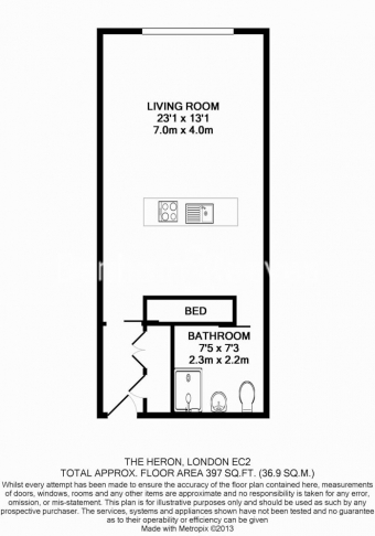 Studio flat to rent in Moor Lane, Moorgate, EC2-Floorplan