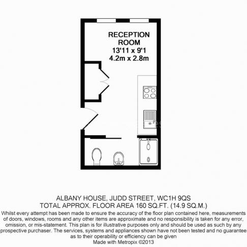 Studio flat to rent in Judd Street, City, WC1H-Floorplan