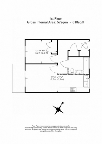 1 bedroom(s) flat to rent in Trematon Building, Regents Quarter, Trematon Walk, N1-Floorplan