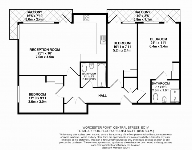 3 bedroom(s) flat to rent in Worcester Point, Clerkenwell Quarter, Seward Street, EC1V-Floorplan
