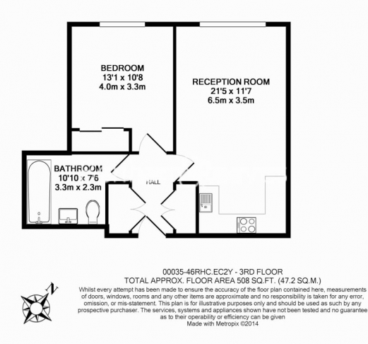 1 bedroom(s) flat to rent in Wood Street, Barbican, EC2-Floorplan