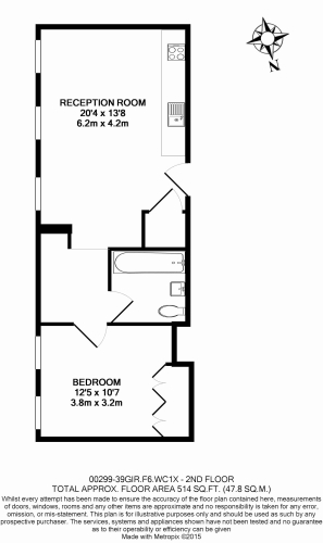 1 bedroom(s) flat to rent in Grays Inn Road, Bloomsbury, WC1X-Floorplan