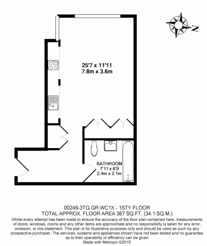 Studio flat to rent in The Greys, Gray's Inn Road, WC1-Floorplan