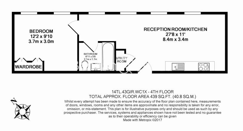 1 bedroom(s) flat to rent in Grays Inn Road, Bloomsbury, WC1X-Floorplan