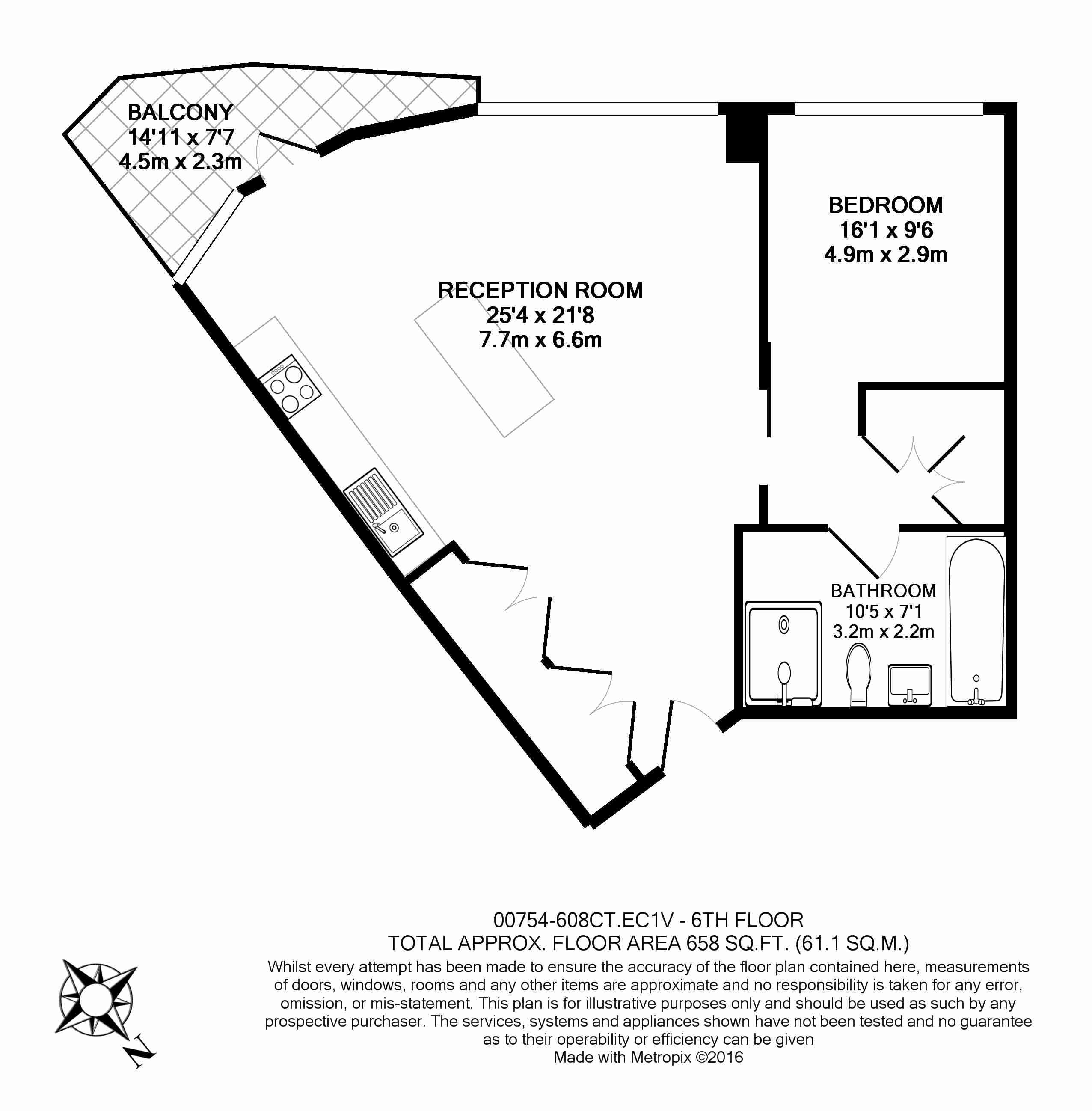 1 bedroom(s) flat to rent in Canaletto Tower, City Road, EC1-Floorplan