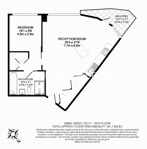 1 bedroom(s) flat to rent in Canaletto Tower, City Road, EC1V-Floorplan