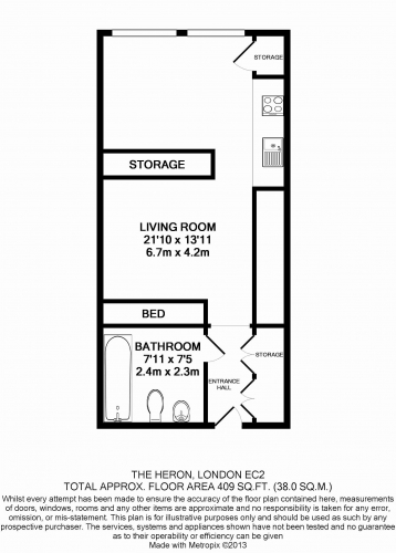 Studio flat to rent in Moor Lane, Moorgate, City, EC2Y-Floorplan