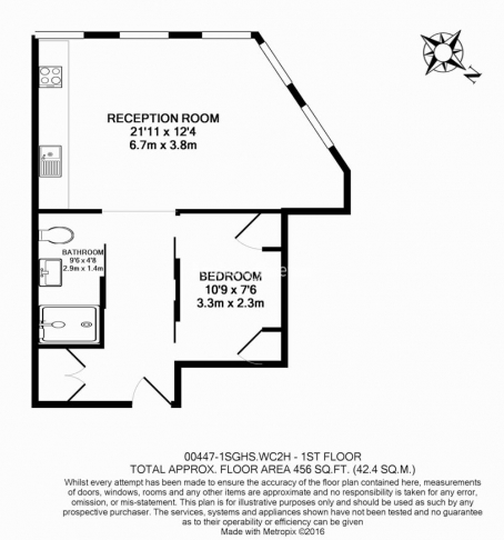 1 bedroom(s) flat to rent in Central St. Giles Piazza, City, WC2H-Floorplan