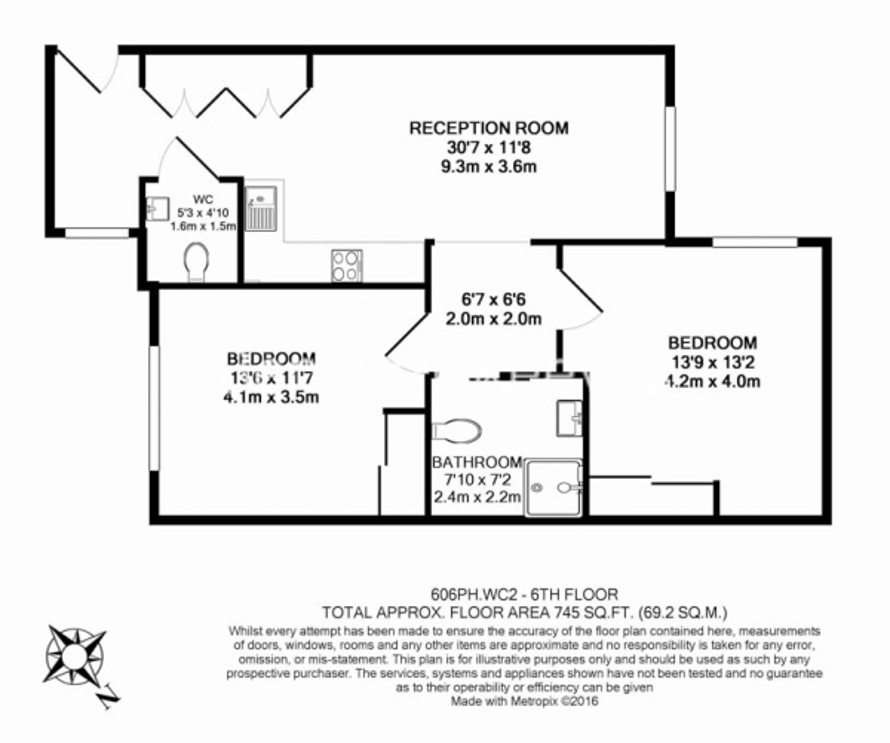 2 bedroom(s) flat to rent in Princes House, Kingsway, WC2B-Floorplan
