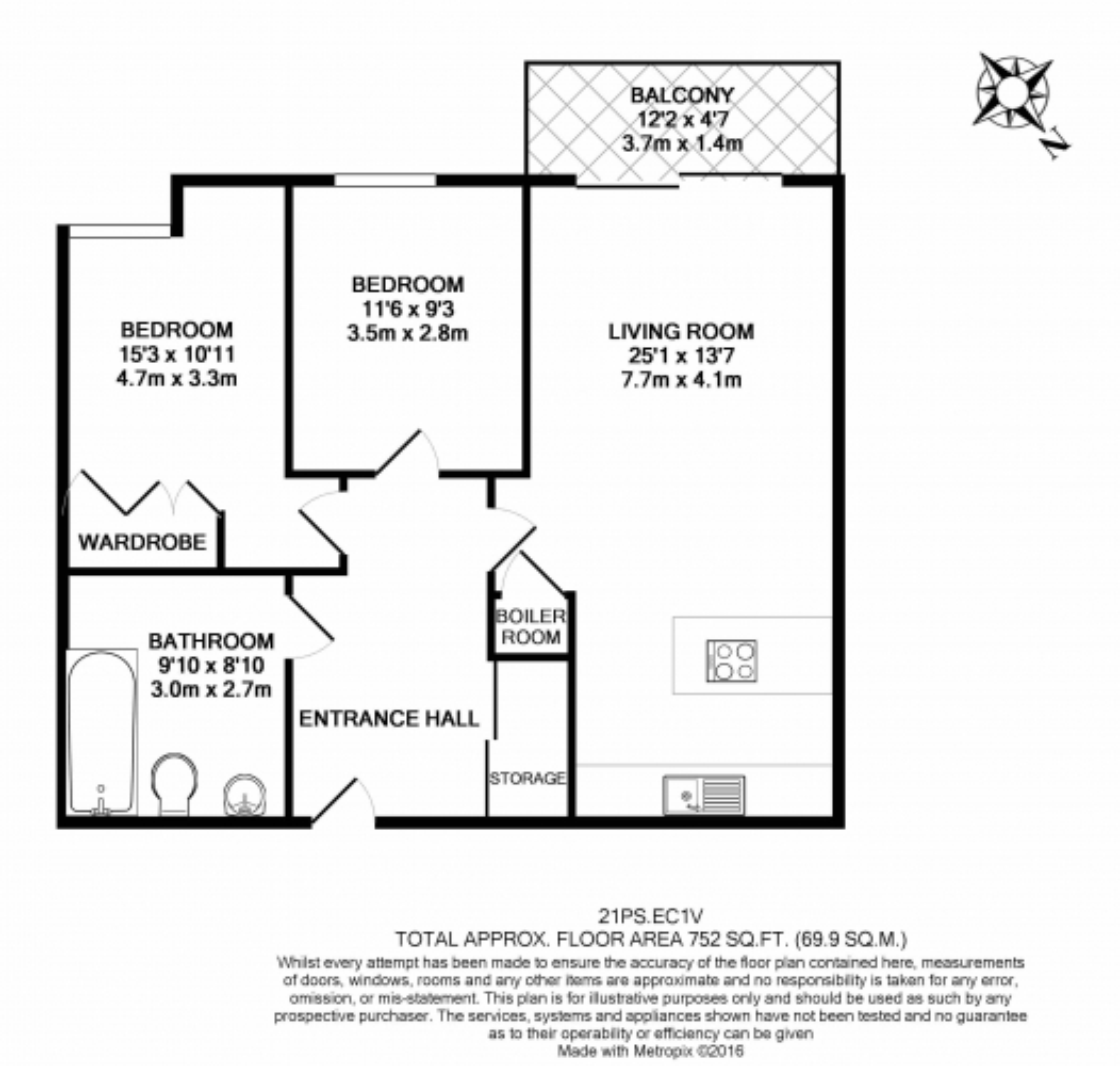 2 bedroom(s) flat to rent in Paton Street, Clerkenwell, EC1V-Floorplan