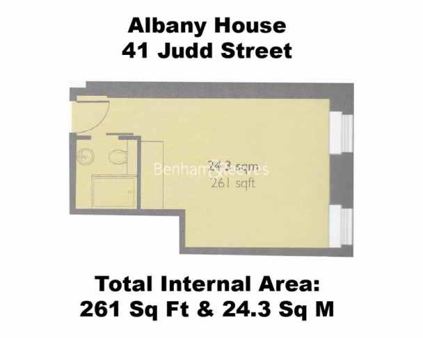 Studio flat to rent in Albany House, Judd Street, WC1H-Floorplan