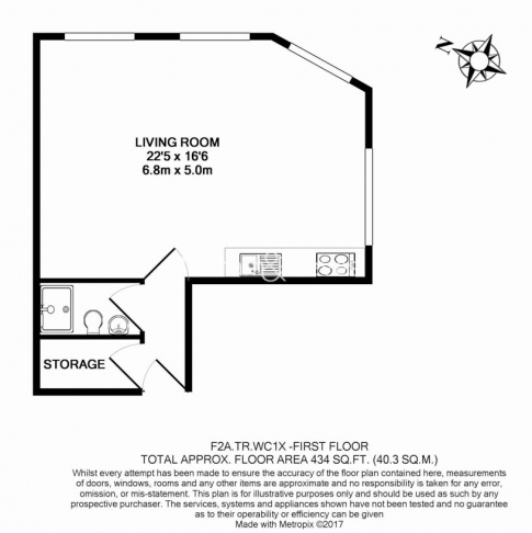 Studio flat to rent in Theobalds Road, Bloomsbury, WC1X-Floorplan