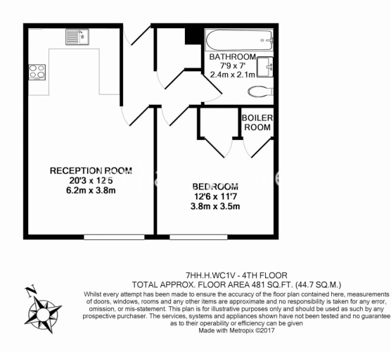 1 bedroom(s) flat to rent in High Holborn, City, WC1V-Floorplan