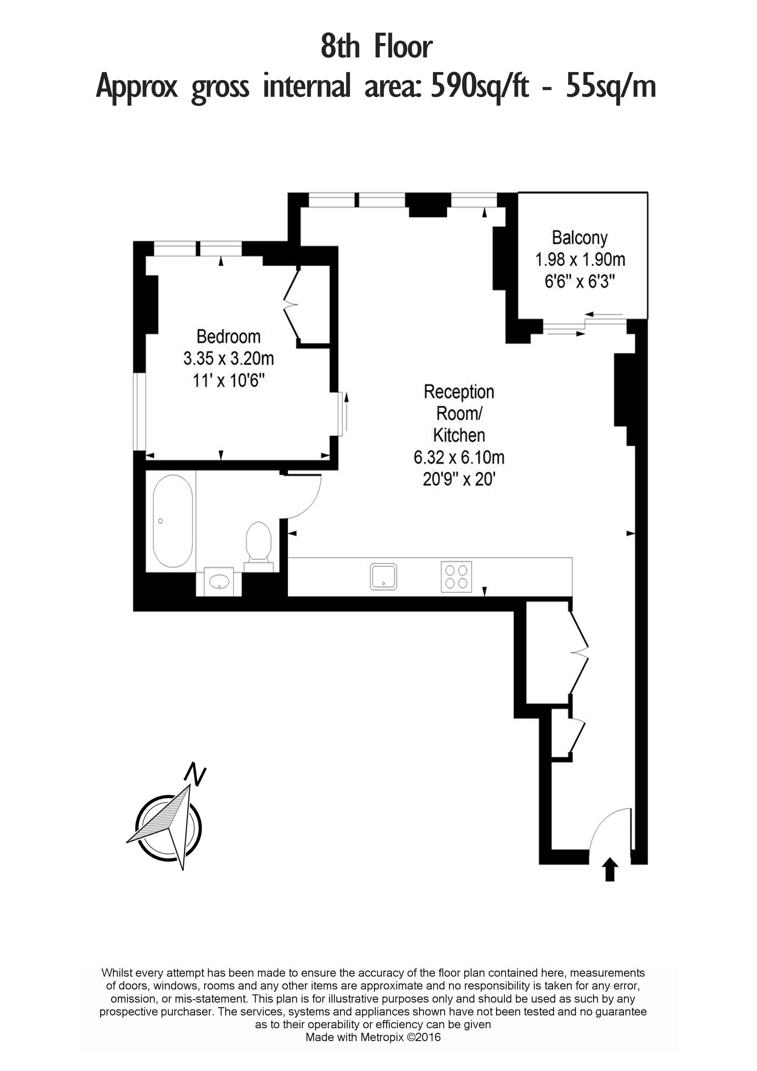 1 bedroom(s) flat to rent in Atlas Building, City, EC1V-Floorplan