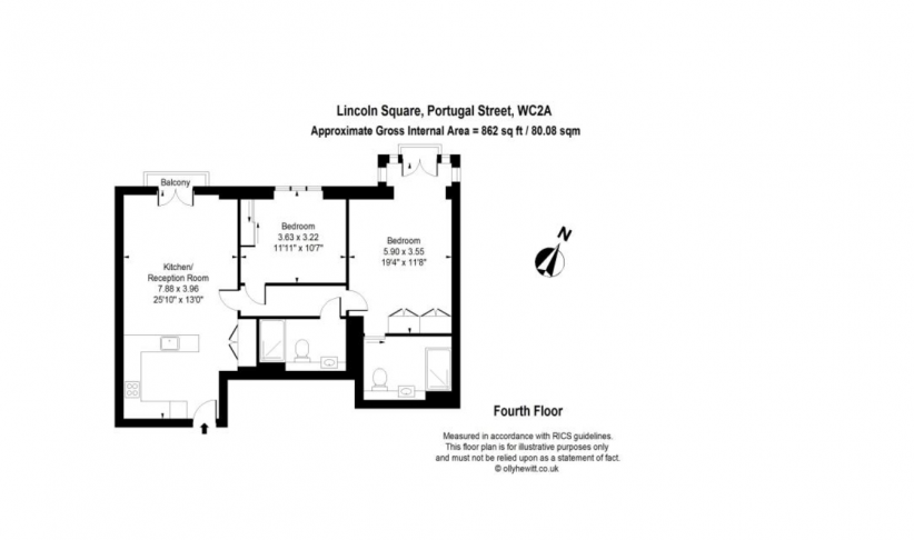 2 bedroom(s) flat to rent in Lincoln Square, Portugal Street, WC2A-Floorplan