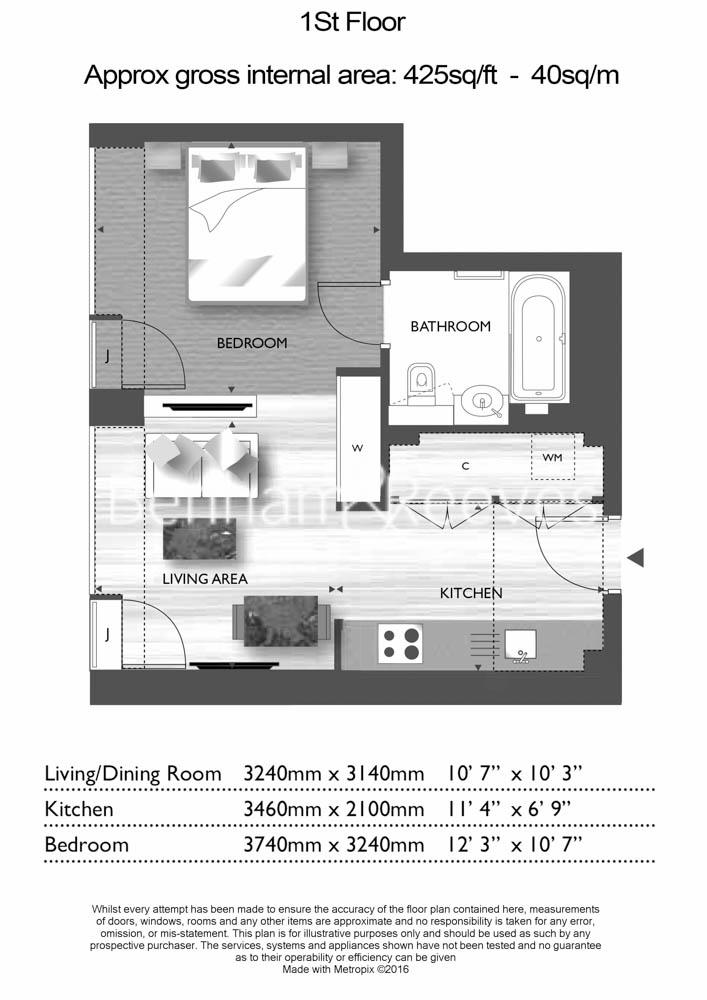 Studio flat to rent in Roman House, City, EC2Y-Floorplan