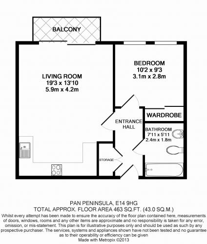 1 bedroom(s) flat to rent in Pan Peninsula Square, Canary Wharf, E14-Floorplan