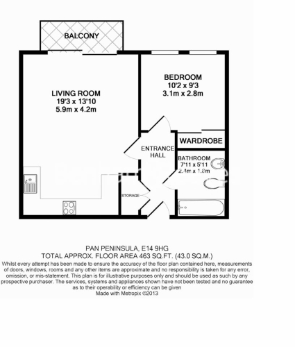 1 bedroom(s) flat to rent in Pan Peninsula West Tower, Canary Wharf, E14-Floorplan