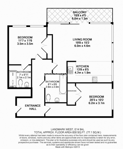2 bedroom(s) flat to rent in Landmark West, Marsh Wall, E14-Floorplan