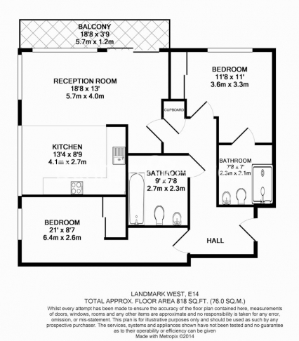 2 bedroom(s) flat to rent in Marsh Wall, Canary Wharf, E14-Floorplan