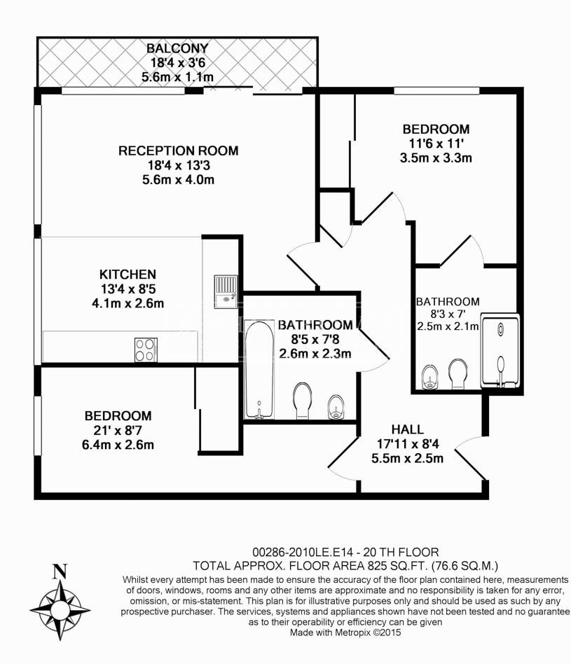 2 bedroom(s) flat to rent in Landmark East, Marsh Wall, E14-Floorplan
