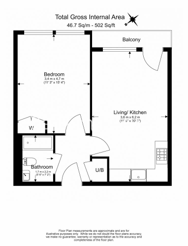 1 bedroom(s) flat to rent in Cobalt Point, Canary Wharf, E14-Floorplan