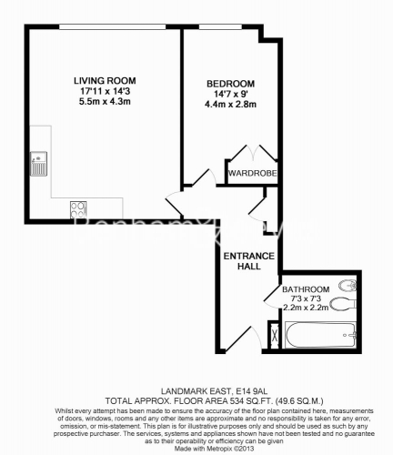 1 bedroom(s) flat to rent in Marsh Wall, Canary Wharf, E14-Floorplan