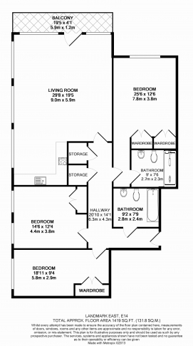 3 bedroom(s) flat to rent in Landmark East Tower, Canary Wharf, E14-Floorplan