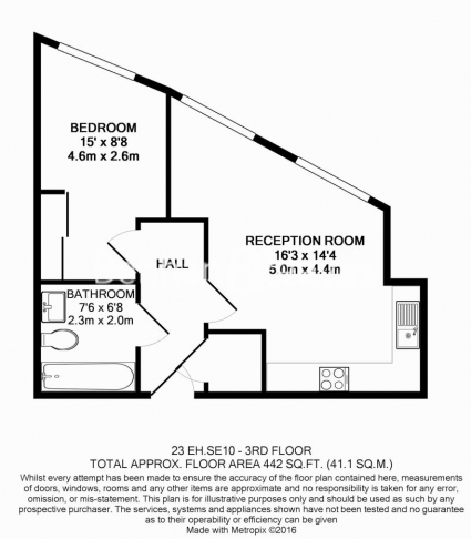 1 bedroom(s) flat to rent in Dowells Street, Greenwich, SE10-Floorplan
