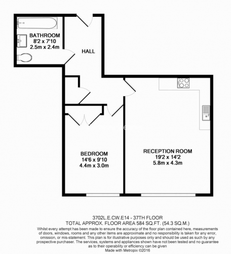 1 bedroom(s) flat to rent in Landmark East Tower, Marsh Wall, E14-Floorplan
