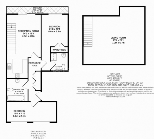 2 bedroom(s) flat to rent in Discovery Dock, Canary Wharf, E14-Floorplan