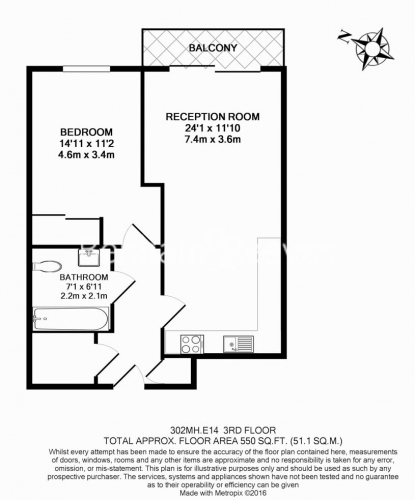1 bedroom(s) flat to rent in Upper North Street, Canary Wharf, E14-Floorplan